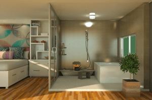 מקלחון בחדר שינה