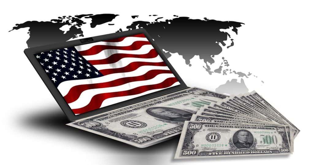דולרים ודגל ארהב