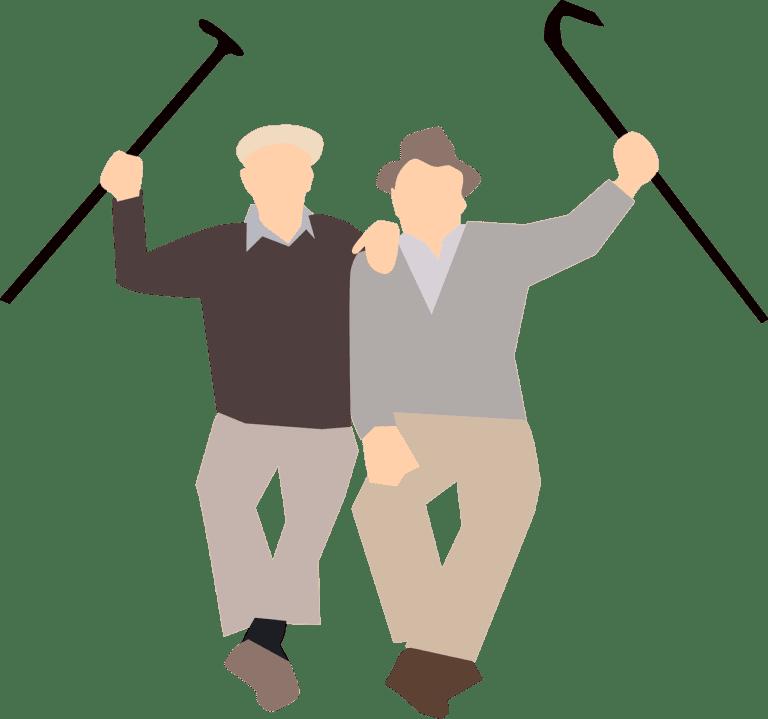 שני מבוגרים ומקלות הליכה